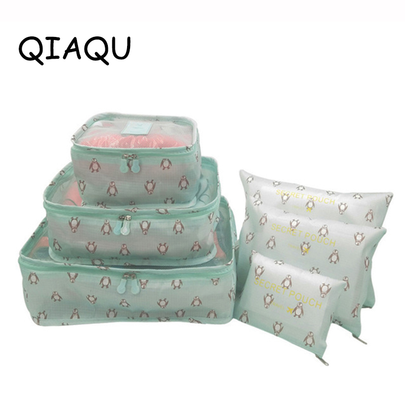 QIAQU 6 Pcs / Set Travel Organizer Storage Bag Portable Luggage Organizer Clothes Suitcase Bag Travel Accessories