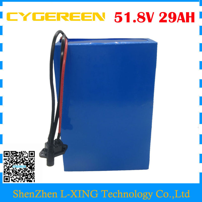 Free customs duty 52V bicycle battery 51.8V 29AH scooter battery 52volt Li-ion battery with NCR18650PF 2900mah cell 50A BMS