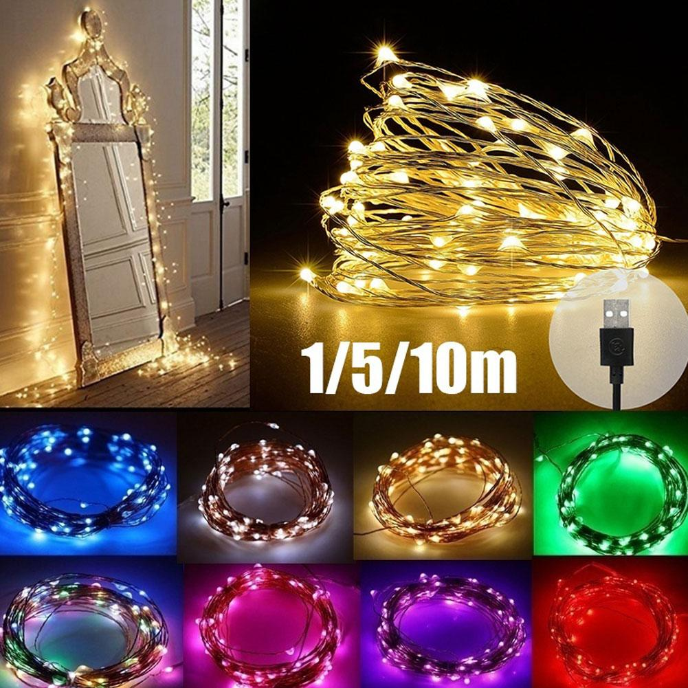 5/10m(50/100 LEDs) Waterproof Energy Saving USB LED Copper Wire Flexible Fairy String Lights Garland Decoration