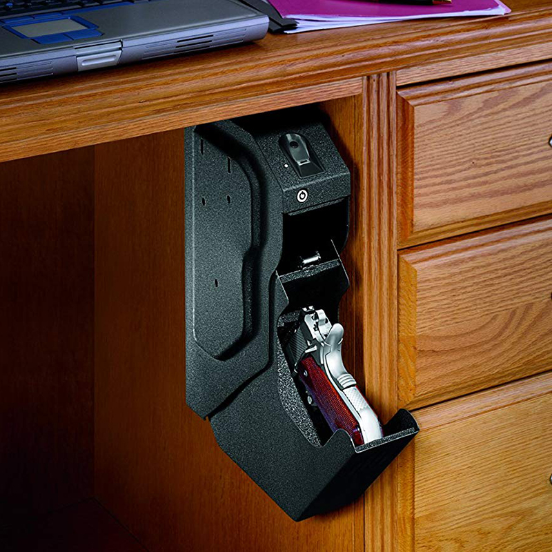 Gun Safes Fingerprint Biometric and Spare Key Lock Pistol Safe Box High Quality Steel Security Guns Fingerprint Strongbox-in Safes from Security & Protection