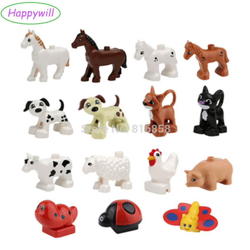 Happywill In stock! Animals Building Blocks Dog Cat Cow Sheep Cock Pig Butterfly Pony Children Role Play Toys Baby Learning Toys funlock duplo blocks toys farm animal figures bunny cat dog cow pony pig sheep rooster educational toys for kids gifts