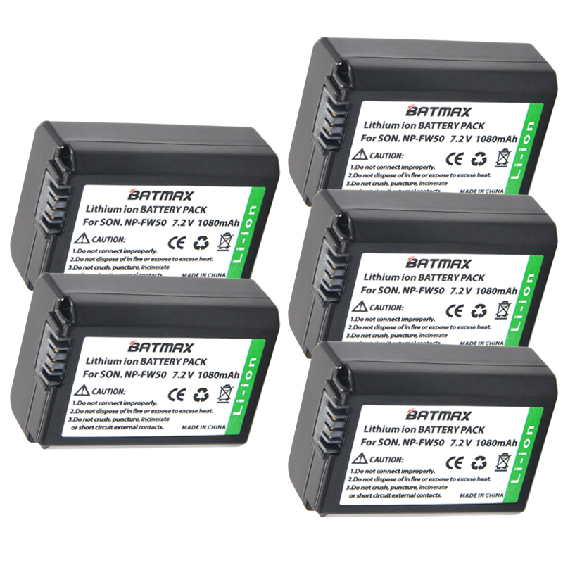 5Pcs NP-FW50 NPFW50 NP FW50 Battery Bateria Akku for Sony NEX-5 NEX-7 SLT-A55 A33 A55 A37 A3000 A5000 A5100 A6000 A6300 A7000 np fw50 npfw50 lithium batteries pack external power np fw50 digital dslr mobile power for sony nex 5 6 7 a55 a7r a7m2 a6500