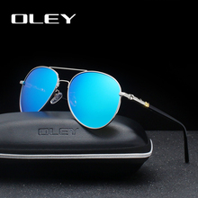 OLEY Brand Mens Sunglasses Polarized Classic Pilot Glasses Men Coating Mirror oculos Male Eyewear Accessories For Women