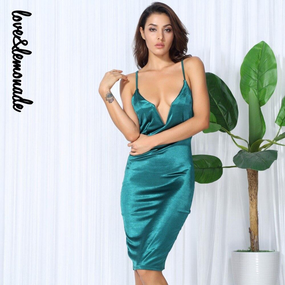 Love&Lemonade Sexy V Neck Green Halter Cross Bodycon Party Dress ...