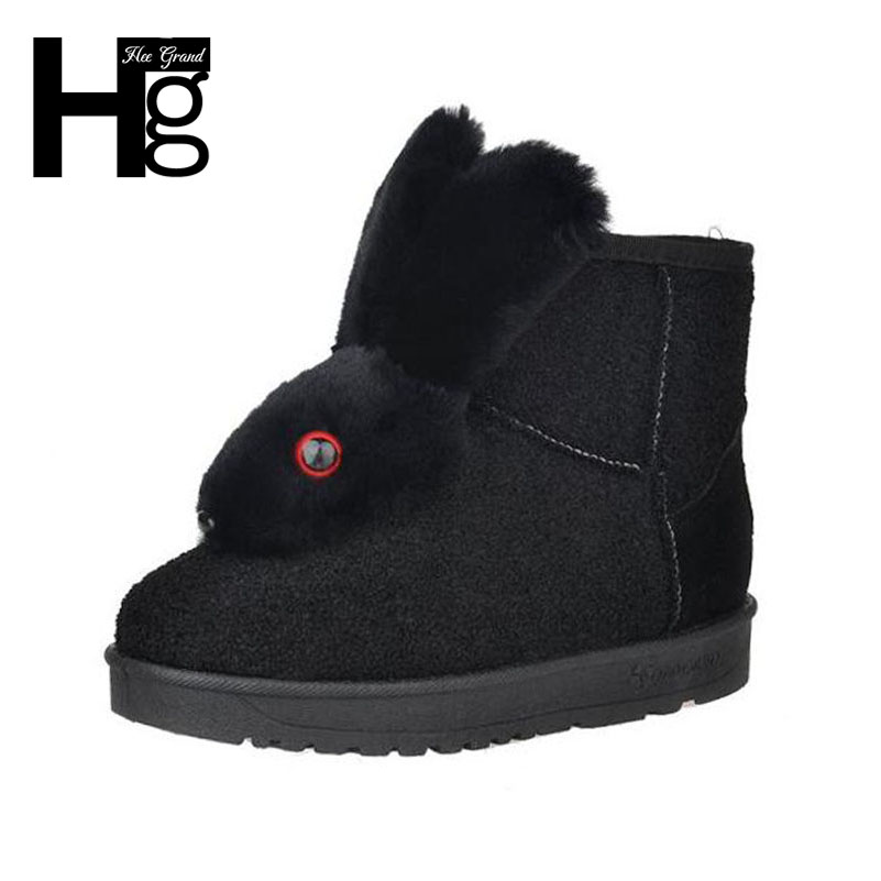 HEE GRAND Cute Rabbit Pattern Winter Snow Boots Faux Fur Thick Plush Fashion Girls Booties for Women Ankle Boots Size 40 XWX6160 hee grand women snow boots winter flat panda pattern shoes woman fur cotton slip on snow ankle boots size 35 40 xwx4498