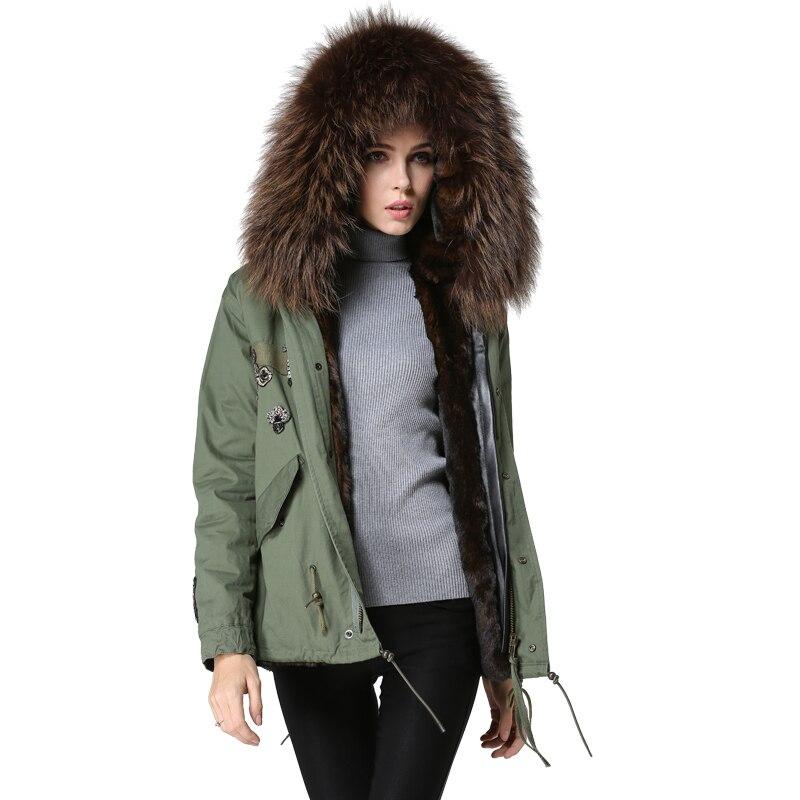 Avec Parka Femmes 2017 M Fourrure Court Brun Dame Col Mode Manteau D'hiver Et Mme Gratuite Réel De Capuche Style Livraison Veste qqzwapxO