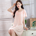 2019 new sexy lady solid <font><b>sleepshirt</b></font> <font><b>nightgown</b></font> sexy lace sleepwear set v neck female embroidery lingerie dress