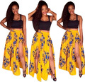 Ailunsnika 2017 2 pcs Suits Africa Vintage National Bohemia Sexy Print Beach  Women Casual  Short Tank Maxi Skirt Sets OS7077