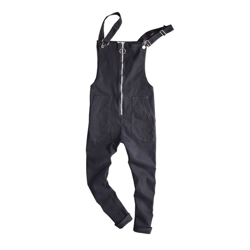 New Brand Summer Casual Black Solid Color Denim Jumpsuits Male Jeans Overalls Casual Suspenders Trousers male suspenders 2017 new casual black denim overalls jeans pockets men s bib jeans boyfriend jeans jumpsuits