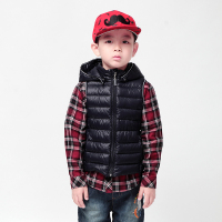 boys vest 2015 moomin new arrival Children Outerwear Turtleneck kids down vest Fashion Black baby leather vest