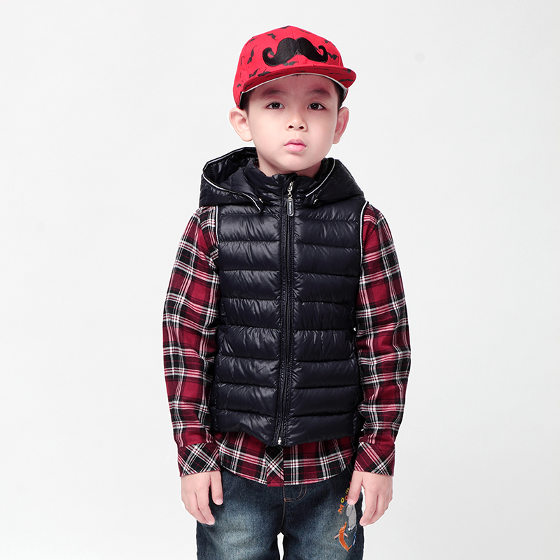ФОТО boys vest 2015 moomin new arrival Children Outerwear Turtleneck kids down vest Fashion Black baby leather vest