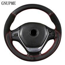Gnupme camurça couro volante do carro cobre universal antiderrapante trança no volante protetor costura cor