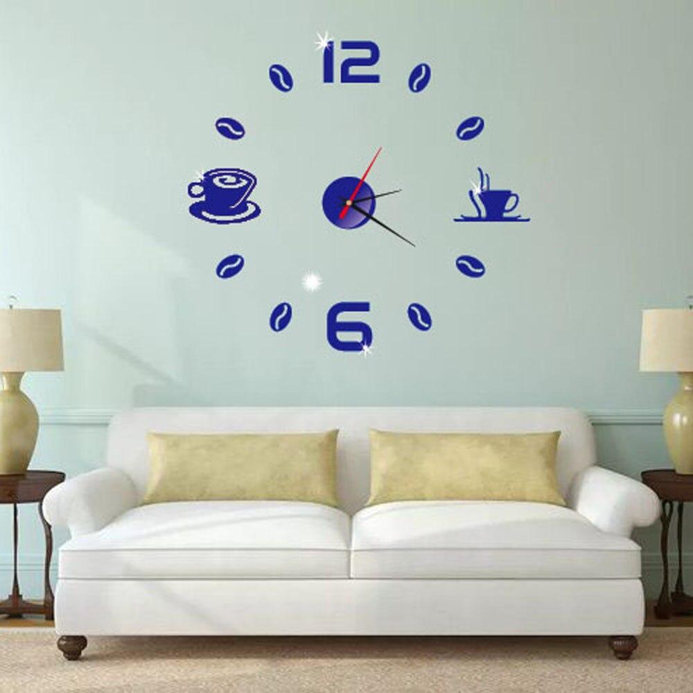 Stylish Acrylic Modern DIY Wall Clock 3D Mirror Surface Sticker Home Office Decoration Brief Beautiful Orologio Da Parete A70