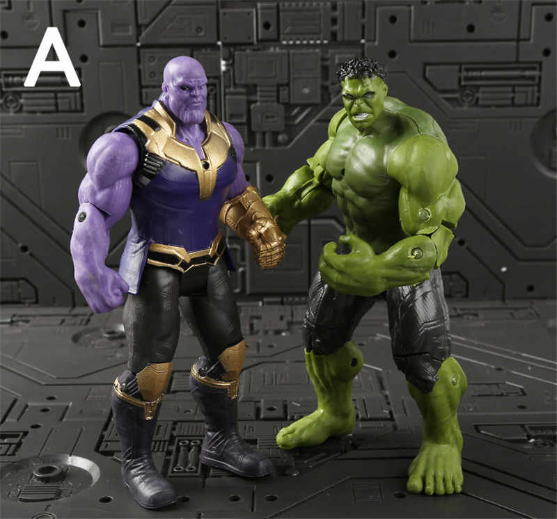 2 pz/lotto The Avengers Super hero Action Figure Set Thanos + Hulk Marvel The Avengers Infinity Guerra figuras Thanos Hulk partito Decor