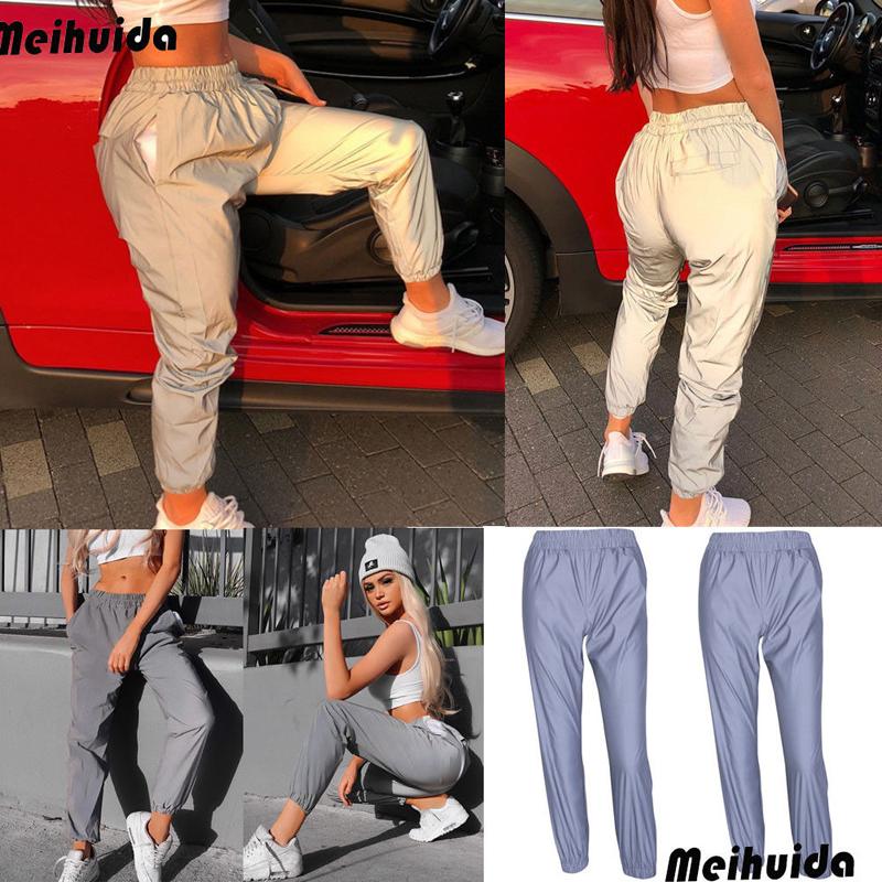 19 New Women's Reflective Pants loose High waist cargo Trousers Jogger Baggy Trousers glowing pants pantalon reflechissant 4