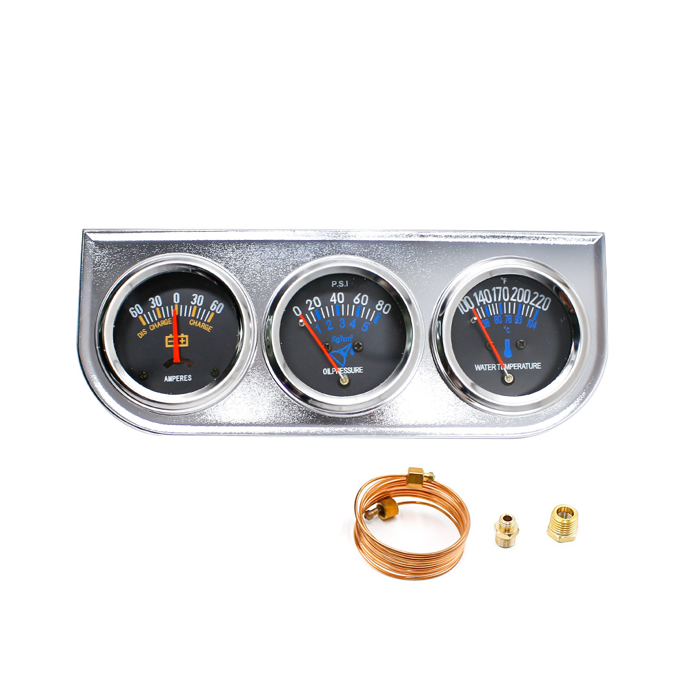 "Universal 2 ""52MM 3 In 1 AMP Meter + Öldruck + Wassertemperatur Dreifach 3 Gauge Set Manometer Kit / Auto Meter TT101015"