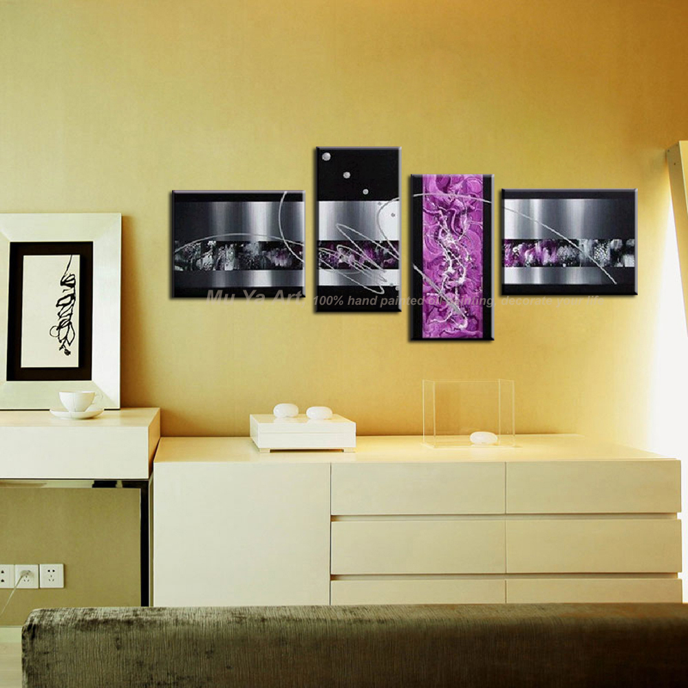 4 piece modern canvas wall art large Abstract black purple office ...