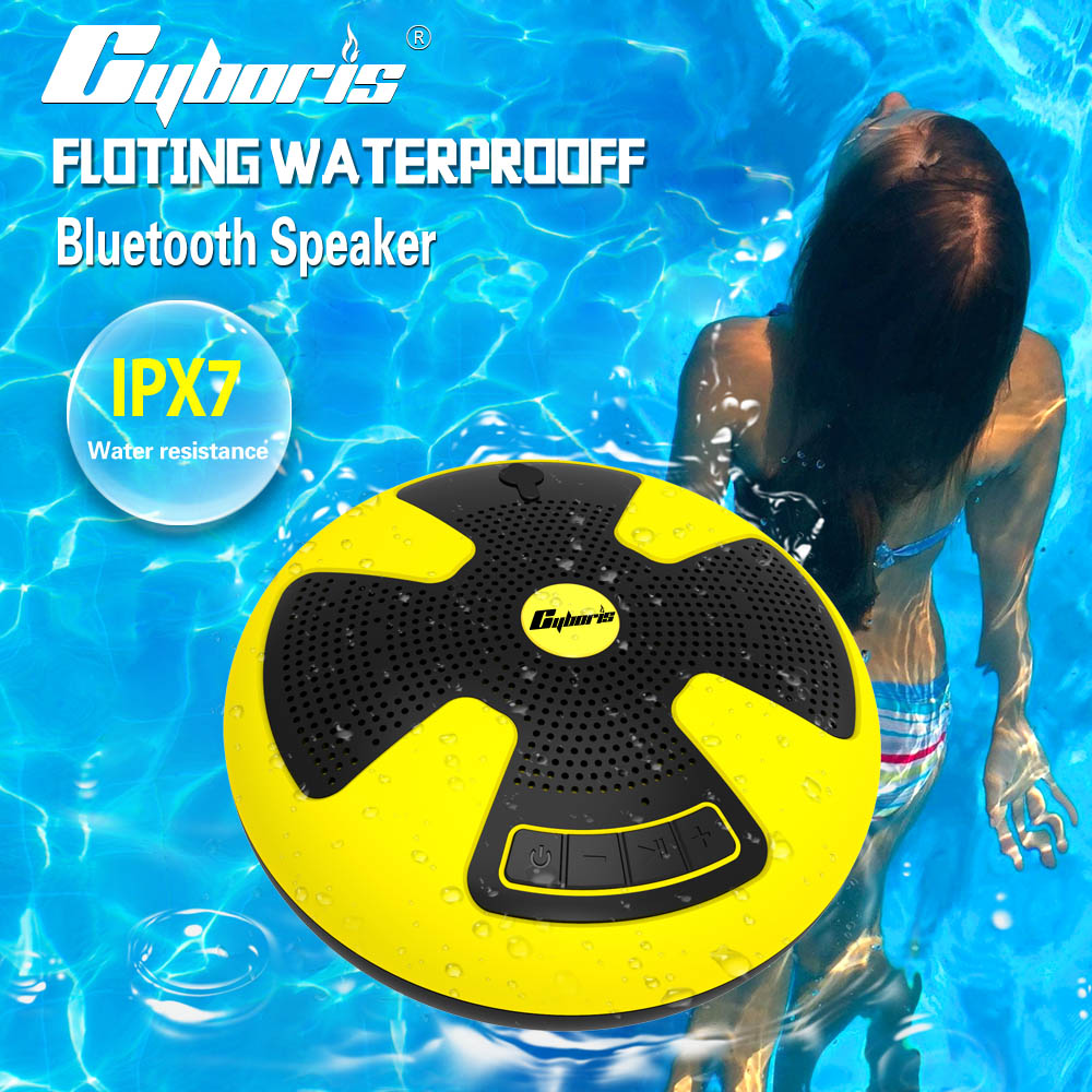 CYBORIS IPX7 Dual 5W Swimming Speaker Pool Floating Bluetooth Speakers Wireless Waterproof stereo use for Outdoor Bathroom