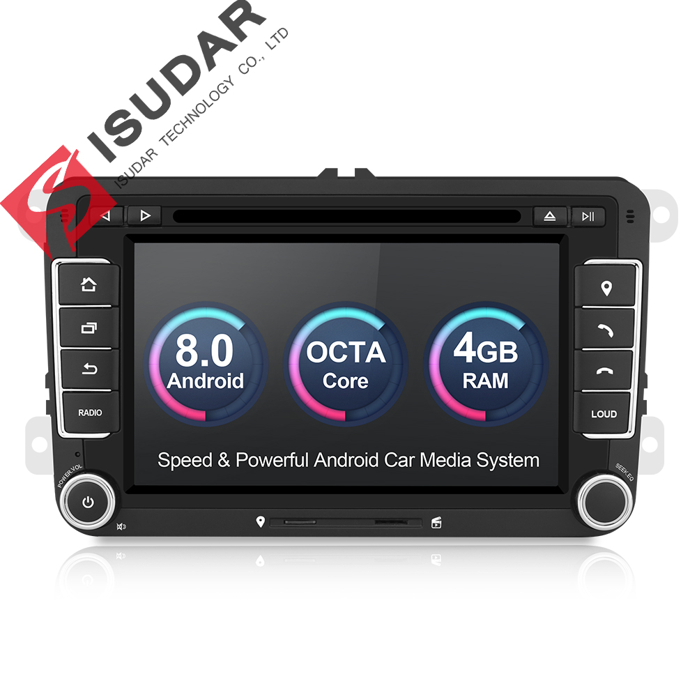 Isudar Voiture lecteur multimédia 2 Din Autoradio GPS Android 8.0 Autoradio Pour VW/Volkswagen/POLO/Golf/Skoda /Octavia/Siège/Leon DSP