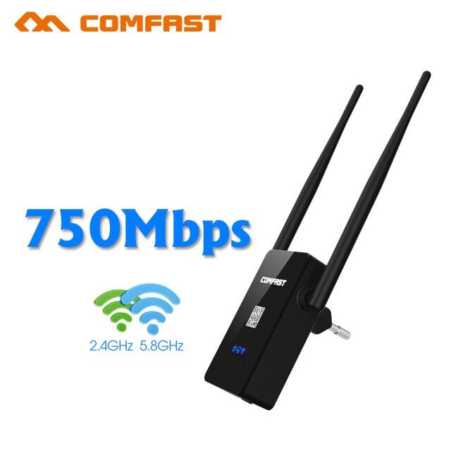 Dual Band Comfast Wireless N Wi-Fi Ретранслятор 5 Г Сеть Ряда маршрутизатора Expander 750 Мбит 2 * 5dBi Антенна wi-fi Усилитель Сигнала WR750AC