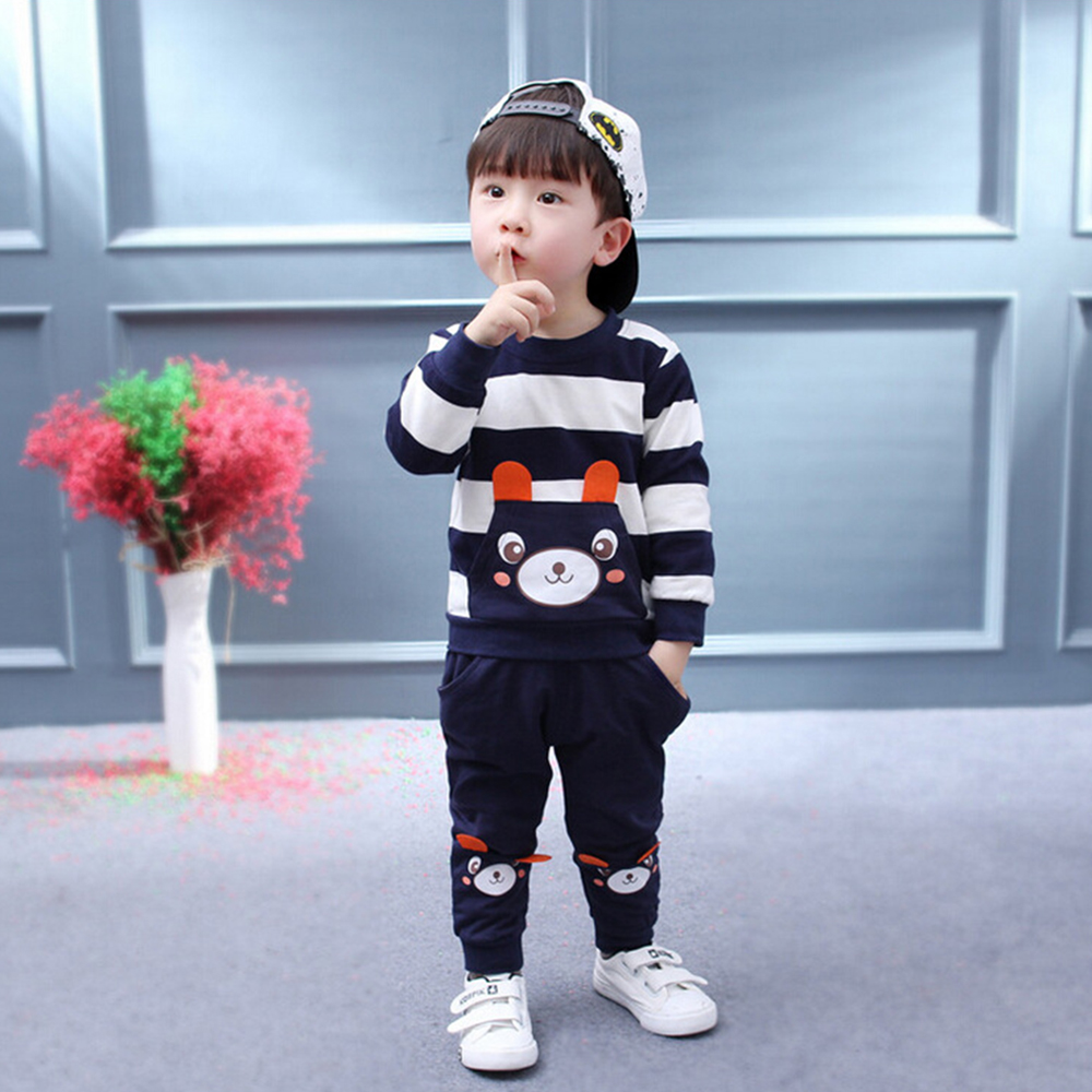Boy/Girl Spring Fall New Cartoon Bear Pattern Lucky Child Stripe Sets Baby Kids Teens Newborn Children Clothes Sweater Suit Blue 2017 new fall mustard yellow children sets ruffle butterfly sleeves infants clothing baby girl nursing accessory apparel