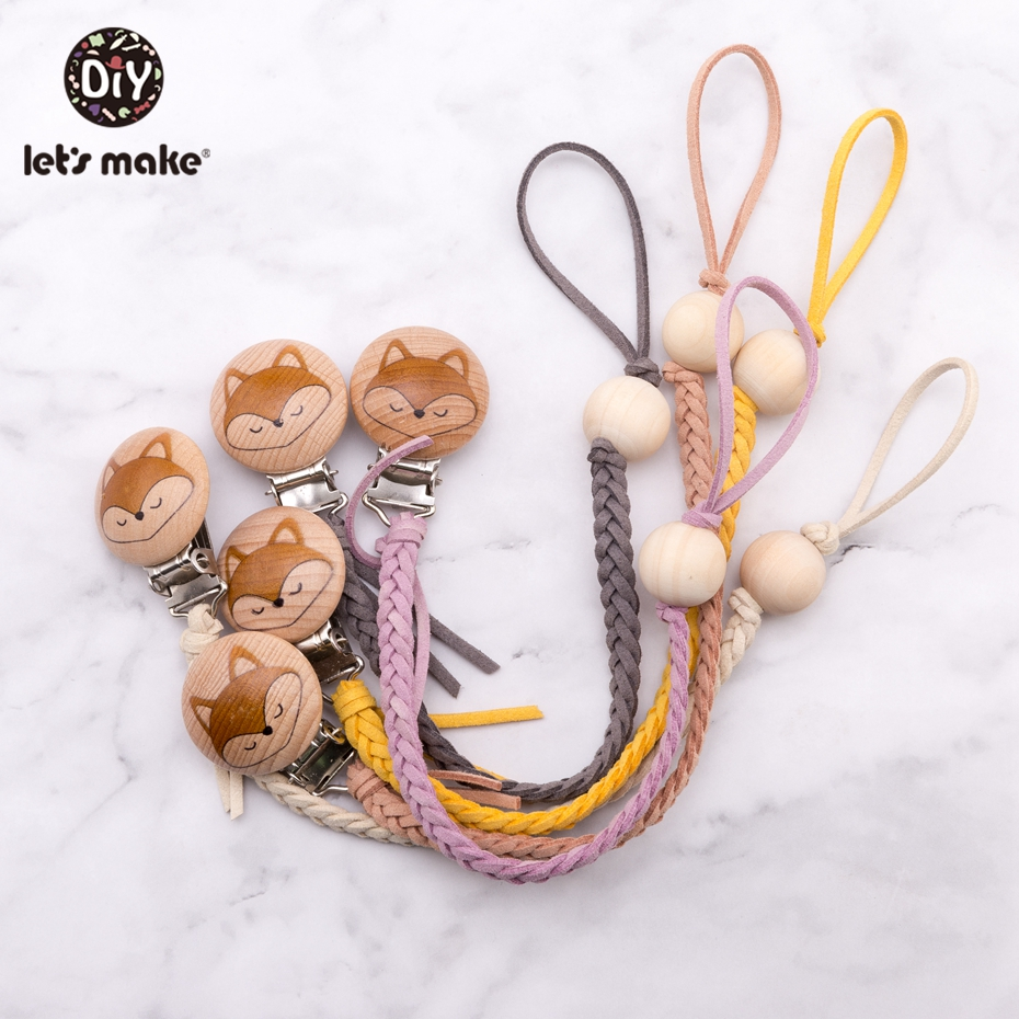 Wooden Teether Braided Thread Leather Wood Beads Engraved Fox Pacifier Clip Dummy Clip Pacifier Chain Baby Teether For Nipples