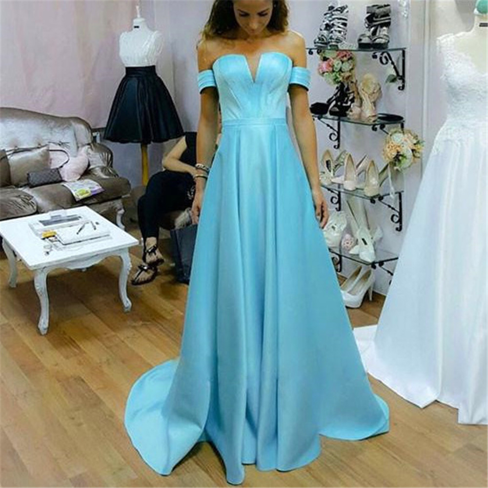 Blue Wedding Dresses 2019: Light Blue Satin Simple Bridesmaid Dresses Strapless A
