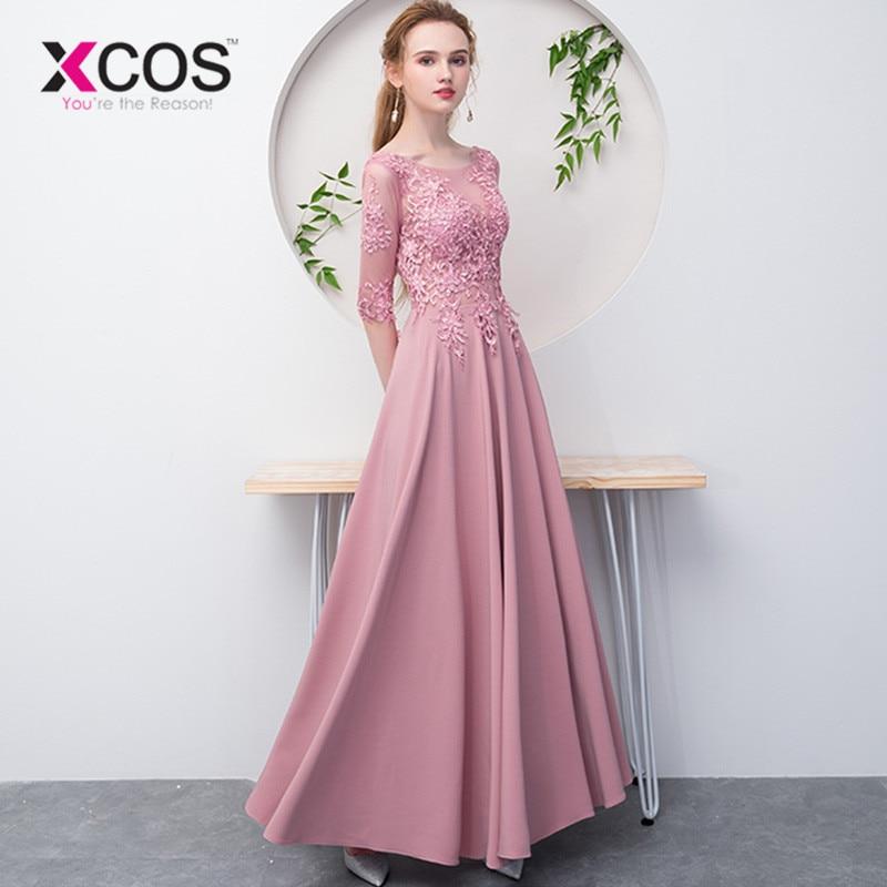 XCOS Appliques Pink Long Evening Dress 2018 Cheap A Line Half Sleeve Lace up Chiffon Formal Prom Party Dress Vestido de Festa