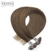 Neitsi, человеческие волосы для наращивания с плоским кончиком, 0,9 г/локон, 22 дюйма, 1,0 г/локон, 26 дюймов, прямые капсулы, кератиновые Предварительно Связанные волосы