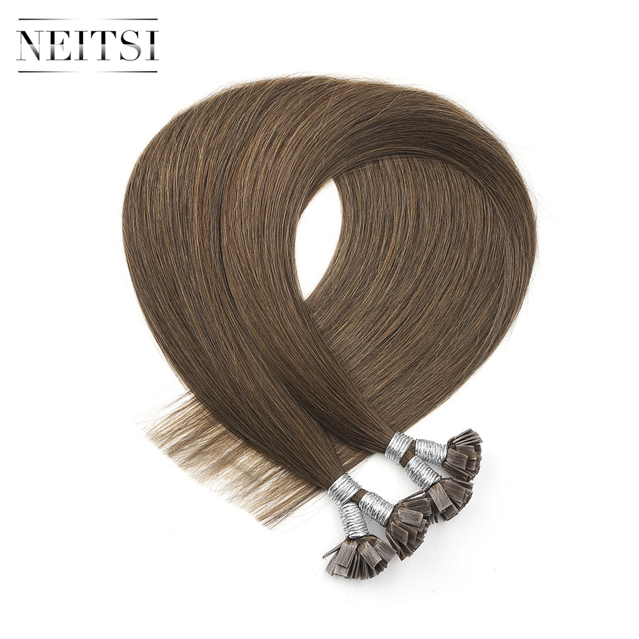 "Neitsi Machine Made Remy Flat Tip Human Hair Extensions 0.9g/s 22"" 1.0g/s 26"" Straight Capsules Keratin Pre Bonded Hair"