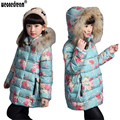 WEONEDREAM 2017 New Baby Girls Clothing Winter Coats Thick Jacket Cotton-Padded Printed Windproof Kid Jackets 120-160cm