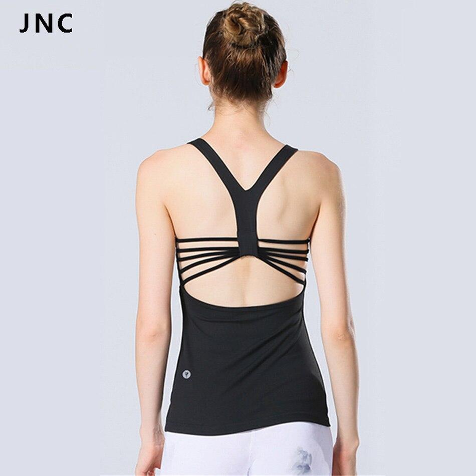 JNC Serbatoio delle Donne Tops Yoga Costruito in Bra Top Ritrovo Camicie perfetto per Lo Yoga Pilates Activewear Vestiti di Yoga Yoga Canotta Shirt