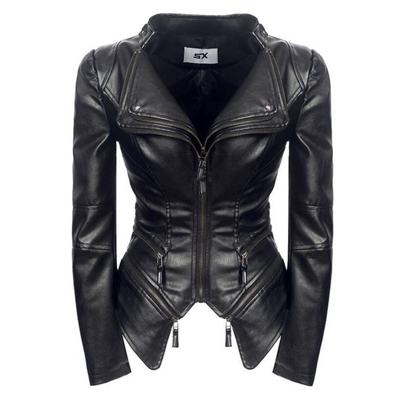 New Fashion Women Autumn Winter Black Faux   Leather   Jackets Zipper Basic PU Coat Rock punk Zipper Stitching short   leather   Jacket