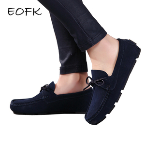 Image 1 - EOFK 2020 Autumn Women Loafers Moccasin Genuine Leather Flats Woman Lady Femme Casual Slip on Blue Large Size Shoes