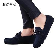 حذاء نسائي خريفي من EOFK موضة 2020 حذاء بدون كعب من الجلد الأصلي حذاء نسائي نسائي غير رسمي سهل الارتداء مقاس كبير أزرق