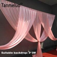 Lüks pembe düğün backdrop perde için swags 3*3M arka plan olay parti perde swags sadece özelleştirilmiş renk