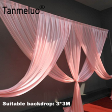 Luxury pink wedding backdrop curtain swags for 3*3M background event party curtain swags only Customized Color