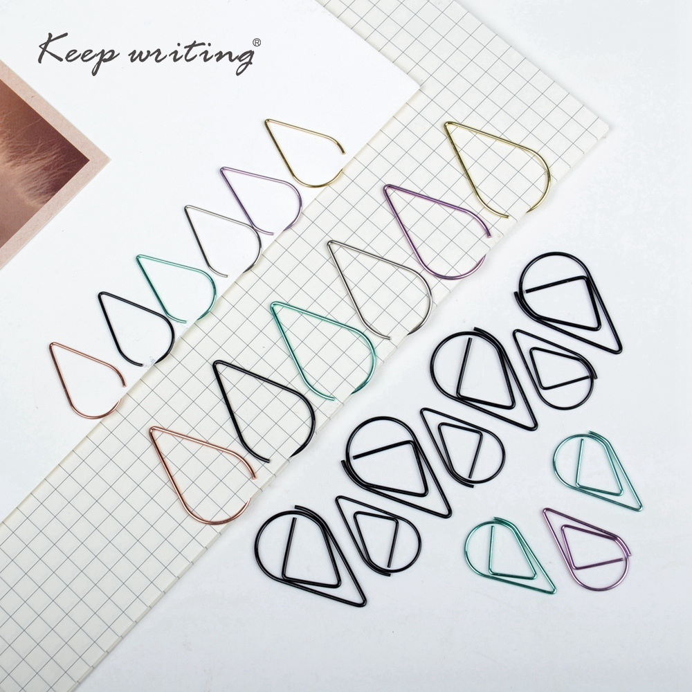 10 PCS/Set Metal Drop Shaped Paper Clips Gold Silver Color Kawaii Bookmark Office School Stationery Marking Clips