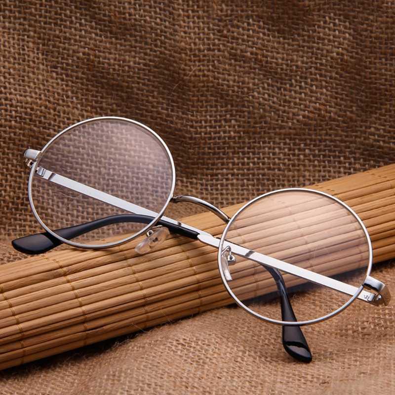 Vintage Pria Wanita Retro Putaran Kacamata Kacamata Eyewear Batal Lens Hot! abu-abu/Perunggu/Perak/Emas