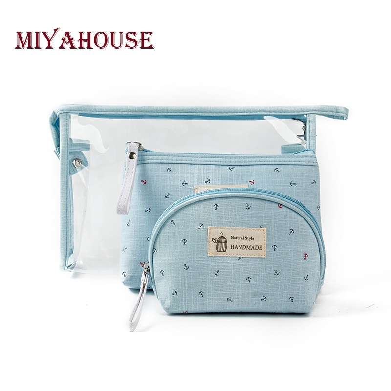Miyahouse 3pcs/set Anchor Printed Makeup Bags Female Waterproof Portable Cosmetic Bags PVC Travel Ladies Pouch Toiletry Bag