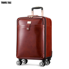 "TRAVEL TALE 16""20"" inch men cow Leather trolley suitcase retro cabin hand luggage bag on wheel"