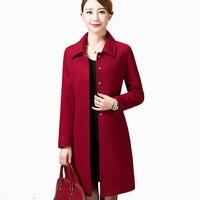2017 Single Breasted Medium Long Fashion Women Coat Big Yards New Autumn Winter Women Wool Coat