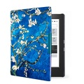 Art style magnet PU leather protective leather cover skin for 2014 kobo aura h2o 6.8'' ereader smart cover case