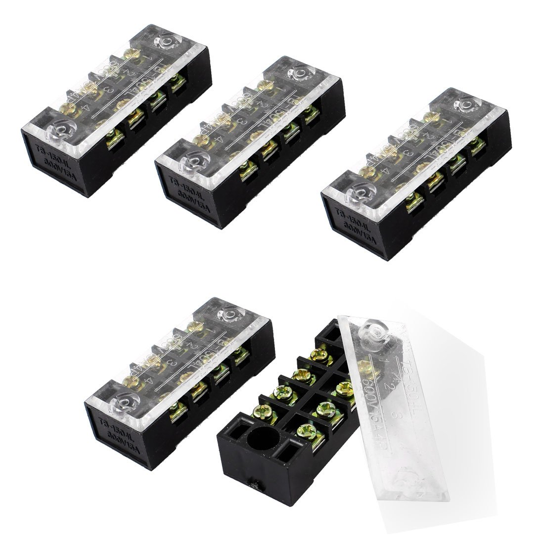 WSFS Hot 5 Pcs Dual Row 4 Position Covered Screw Terminal Block Strip 600V 15A hot factory direct wholesale idc40 male plug 40pin port header terminal breakout pcb board block 2 row screw
