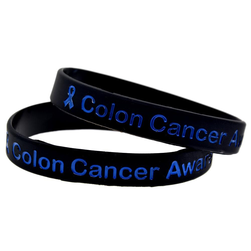 1pc Colon Cancer Awareness Silicone Wristband With Ribbon Adult Size Charm Bracelets Aliexpress