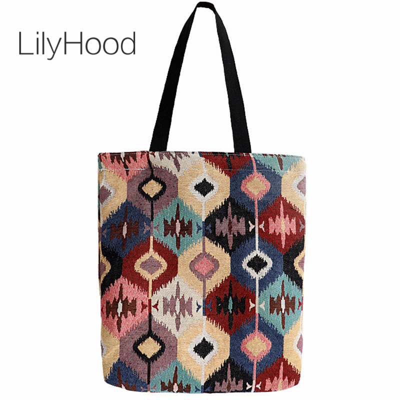 LilyHood Boho Open Tote Bags Female Bohemian Hippie Gypsy Ibiza Style Casual Fabric Over Shoulder Top-Handle Bags Dropshipping tote bag