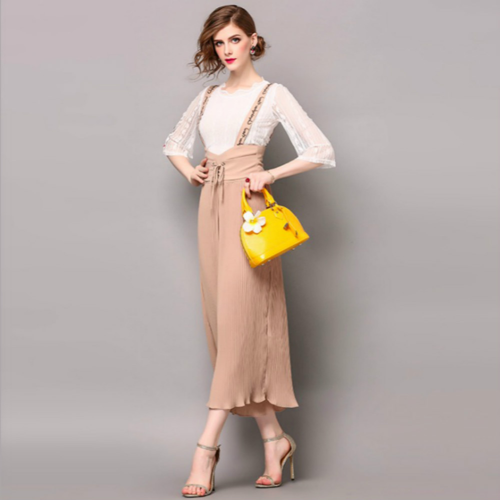 High Quality Women's Suit T-shirt Suspender Trousers Embroidery 2017 Summer Women Pink Black Female Long Loose Pants Suits New