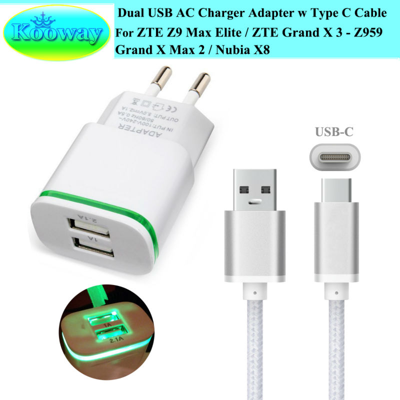 US $3 52 9% OFF|Dual USB EU Plug Wall Charger Adapter for ZTE Nubia M2  Play, Z17 mini, Z11 mini, Grand X 3 Z959 / Z9 Max Elite Travel Charger-in  Car