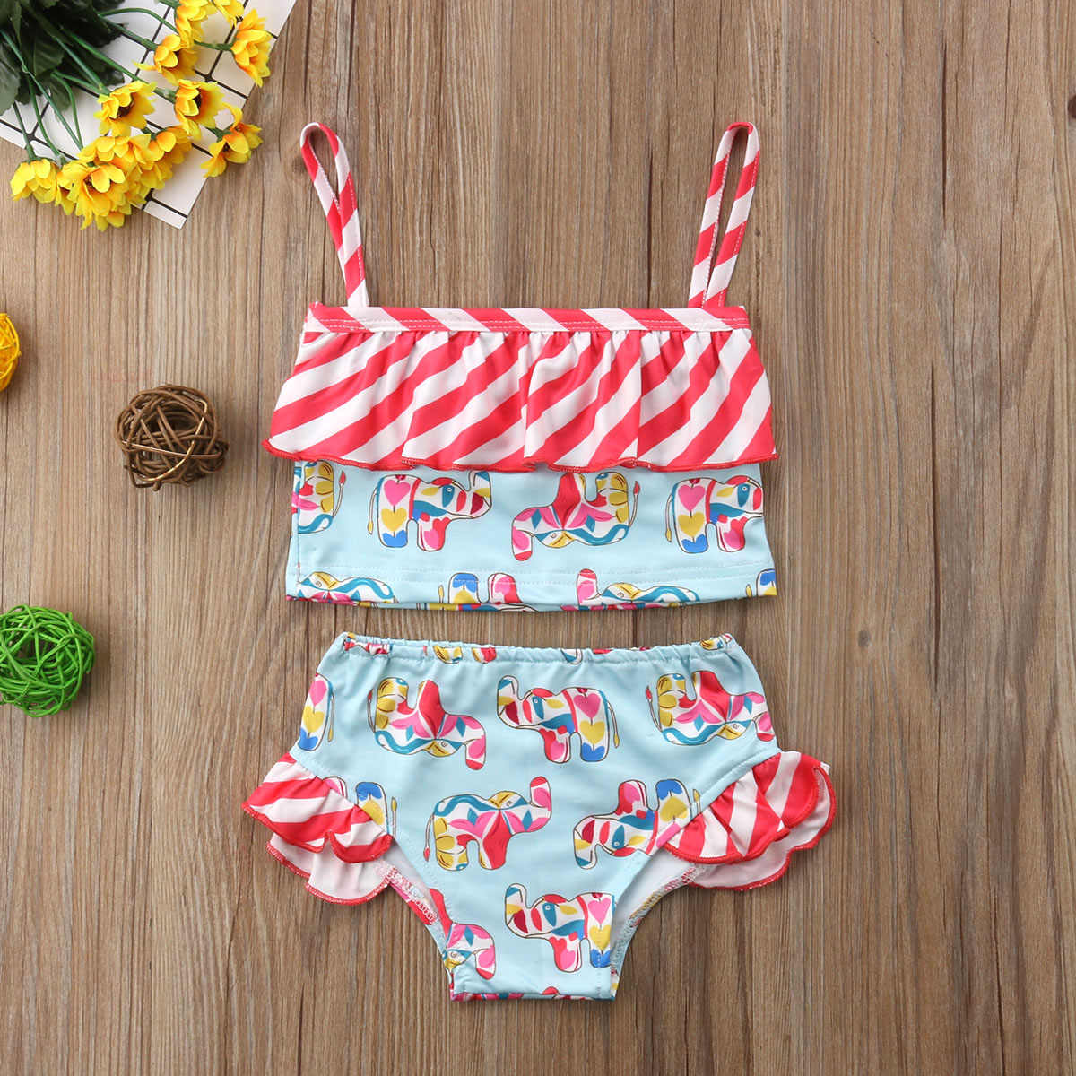 73dd0117e2 ... 2018 Swimwear Swimsuit Girls Kids Children Ruffle Striped Elephant  Bathing Suit One Piece Bikini Outfits Monokini ...