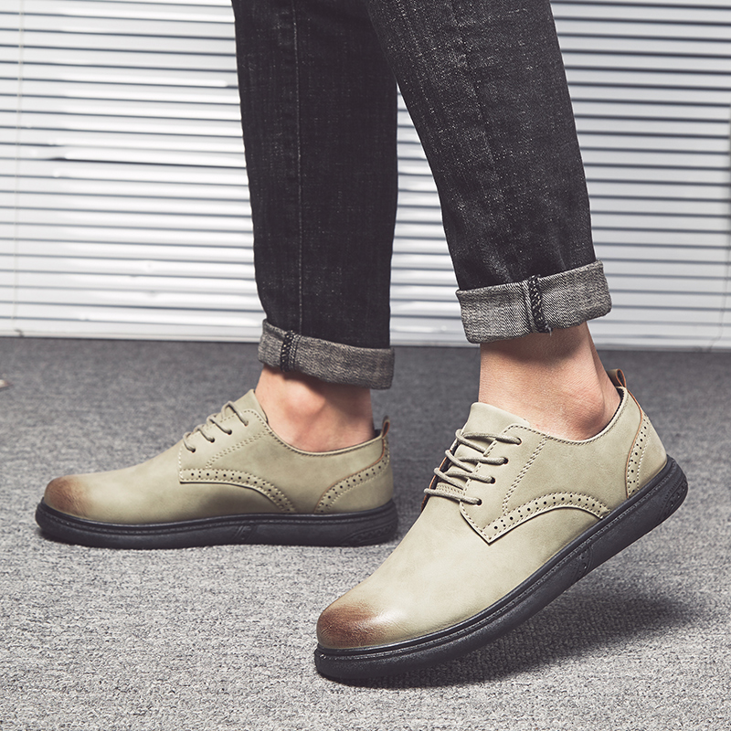 JUQI Spring Autumn Artificial Pu Men Casual Shoes Mens Oxfords Leather Basic Dress Formal Brogue Shoes Party Wedding shoes in Men 39 s Casual Shoes from Shoes